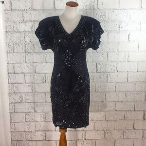 Vintage Sequin Beaded Party Dress By Stenay